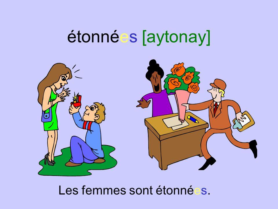 étonnées [aytonay] Les femmes sont étonnées.